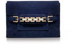 Tory Burch Blue Suede and Chain Clutch.