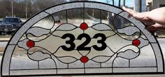Custom Made Stained Glass Transom - Traditional Design -Clear & Red- (Tw-69)