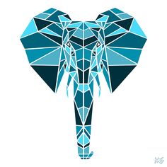 A geometric animal series created from shapes and monochromatic color
