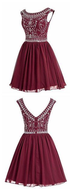 Short Chiffon Homecoming Dress With Beading