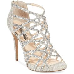Inc International Concepts Women's Sharee High Heel Rhinestone Evening... (£81) ❤ liked on Polyvore featuring shoes, sandals, heels, foot wear, sapatos, champagne, inc international concepts shoes, champagne sandals, high heel shoes and rhinestone shoes