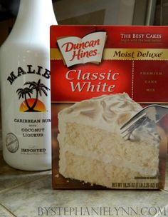 Ingredients Needed for Cupcakes:   Duncan Hines Classic White Cake Mix  3 Large Eggs  1 1/3 Cup of Water  2 Tablespoons of Vegetable Oil  1 Teaspoon of Vanilla Extract  1 Teaspoon of Malibu Rum    Ingredients Needed for Icing:  1 and 3/4 Sticks of Unsalted Butter {softened}  8 cups of Confectioners Sugar {10X sugar}  1/4 Cup of Milk  1/4 Cup of Malibu Rum  1 Teaspoon of Vanilla