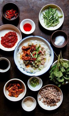 This popular breakfast in China's Yunnan Province starts with fresh rice noodles and ground meat in a bare-bones pork broth, then gets customized with as many as a dozen condiments. Yunnan mi xian noodles (round and spaghettilike) or mi gan (flat and wide) are traditional, but any size rice noodle works, and dried varieties are fine in a pinch. Find fresh rice noodles in the refrigerated section at most Asian markets.