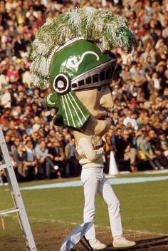 Sparty mascot in 1966- much better now in my opinion...48 years in the weight room paid off :-) JF