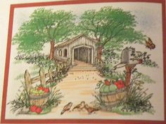 Old-Covered-Bridge. Butterfly, mailbox, fence & apples, bird trio, flowers grass & leaves sold separately. They are Made by Art Impressions. Can be purchased in my ebay Store Pat's Rubber Stamps & Scrapbooks, click on the picture to see it, or call me 423-357-4334 with order, or come by 1327 Glenmar Ave. Mt Carmel, TN 37645, Pat's Rubber Stamps & Scrapbook supplies 423-357-4334. We take PayPal. You get free shipping with the phone orders of $30.00 or more. Use my search engine to find the…