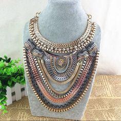 Zara Tribal retro ethnic bib necklace Rose gold, gold, and silverplated. Beautiful! BNWOT Zara Jewelry Necklaces