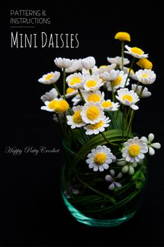 Crochet flower pattern for Miniature Daisies by Happy Patty Crochet