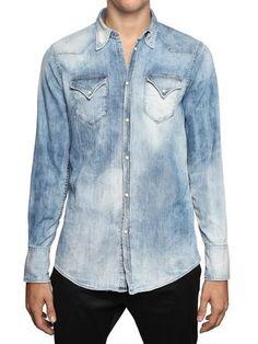 a9f0eb7d2e DSquared2 Bleached Stretch Denim Western Shirt - Lyst Denim Shirts