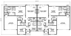 First Floor Plan of Traditional   Multi-Family Plan 61190