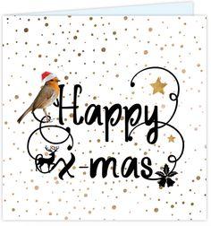 Originele dubbele kerstkaart met krulletters, brons gekleurde feestelijke confetti op de ondergrond, vogeltje met kerst muts, koper kleurige sterren en kerst icoontjes!