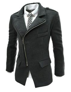 (PJK-CHARCOAL) Mens Casual Unbalance Zipper Wool Coat Jacket. This website is great for those slim fit men's clothing!