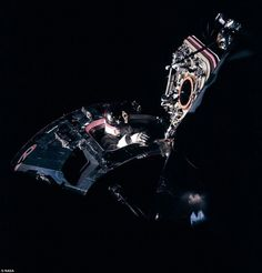 The Apollo IX mission test-flew the command module and lunar module together in Earth orbit. Dave Scott's spacewalk was one of the most-photographed parts of the mission and one of the images brilliantly lit, artfully composed, showing both spacecraft in a single frame became a NASA icon