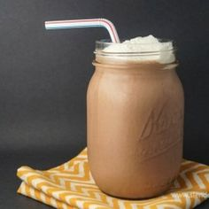 A delicious, healthy chocolate shake that is packed with protein for under 250 calories. Perfect for breakfast or a snack.