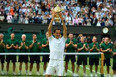 Won 8 wimbledon champion 🏆 Roger Federer, Wimbledon 2017, Wimbledon Champions, Federer Wimbledon, Atp Tennis, Tennis Legends, The Legend Of Heroes, Tennis Championships, Tennis Stars
