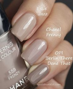 """Essie-""""Jazz"""", Chanel - """"Frenzy"""" and OPI - """"Berlin There Done That"""". I'm so sick of my 'barn nails'. I want pretty nails! Love Nails, How To Do Nails, Pretty Nails, Fun Nails, Taupe Nails, Neutral Nails, Beige Nail, Nails Ideias, Uñas Fashion"""