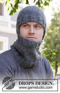 Winter Knights - Knitted hat / hoodie hat for men in DROPS Eskimo with rib and neck. Size S-XL Free knitted pattern DROPS Winter Knights - Knitted hat / hoodie hat for men in DROPS Eskimo with rib and neck. Size S-XL Free knitted pattern DROPS Kids Knitting Patterns, Baby Hats Knitting, Knitting For Kids, Knitting For Beginners, Knitting Stitches, Free Knitting, Knitted Hats, Crochet Patterns, Crochet Hats