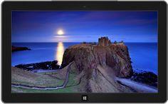 Full moon is rising over calm seas and Dunnottar Castle, near Stonehaven, Aberdeenshire, Scotland, U.K.