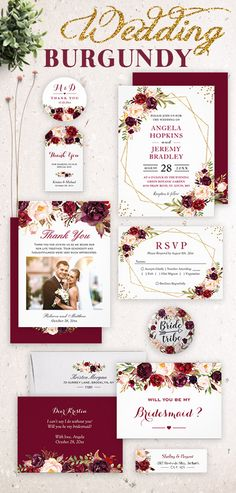 This chic Burgundy Marsala Red Floral Wedding Invitation Suite, with items from wedding invitation to RSVP card, Save the Dates, Bridal Shower Card, Envelope, Menu, Program, and more.