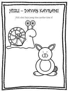 HIZLI YAVAŞ KAVRAMI Ocean Art, My Job, Coloring Pages, Alphabet, Kindergarten, Arts And Crafts, Snoopy, Clip Art, Bird
