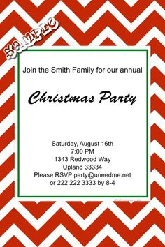Chevrons Christmas Invitations ANY COLOR SCHEME - Get these invitations RIGHT NOW. Design yourself online, download and print IMMEDIATELY! Or choose my printing services. No software download is required. Free to try!