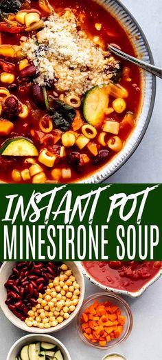 Instant Pot Minestrone Soup cooks in just 5 minutes! Loaded with veggies, beans, & pasta, then topped with lots parmesan cheese and fresh parsley. Instapot Soup Recipes, Healthy Soup Recipes, Healthy Soup Vegetarian, Vegetarian Sandwiches, Primal Recipes, Healthy Food, Instant Pot Dinner Recipes, Vegetarian Recipes Instant Pot, Cooker Recipes