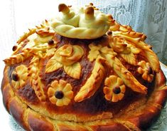 Food Art-27. Festive loaf - recipes with step by step photos - Russian Wedding Loaf