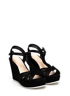Meeting Point T-Strap Wedges BLACK