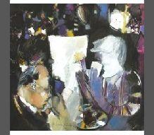23-Baran KAMİLOĞLU (1981)  'Kumarbazlar', tuval üz. y.b., imzalı. 2012 tarihli.  80 x 80 cm  3.000 TL