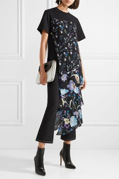 3.1 PHILLIP LIM women's trendy Cotton-jersey and floral-print crinkled silk-chiffon top
