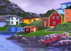 Seas The Day-Giclee on Canvas Reproduction - Elizabeth Burry Rug Hooking Designs, Atlantic Canada, Newfoundland And Labrador, Painted Leaves, Prince Edward Island, Country Art, New Brunswick, Canadian Artists, Artist At Work