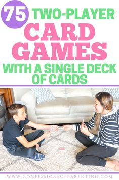 Looking for an awesome 2 player card game? Well, we have the ultimate list of the best two player card games and all you need is a single deck of playing cards! Two Person Card Games, Single Player Card Games, Games For Two People, Two Player Games, List Of Card Games, Family Card Games, Kids Card Games, Family Activities, Easy Games For Kids