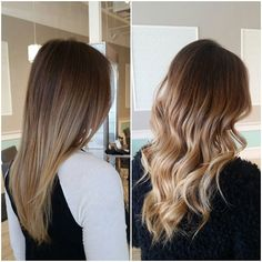 Before and after of @dressember_girl blonder locks. Teased a few sections with lightener while darkening her base a shade. #beforeandafter #newportbeach #addictedtohair #olaplex #balayage #ombre #blonde #healthyhair #modernsalon #behindthechair