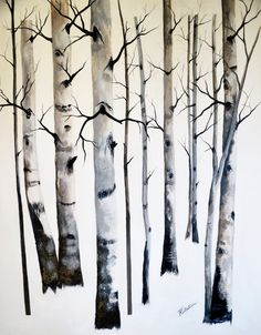 Aspen grove free shipping original winter landscape acrylic painting fine art painting forest gallery wrap canvas large painting home decor by TerriRobertsonArt on Etsy
