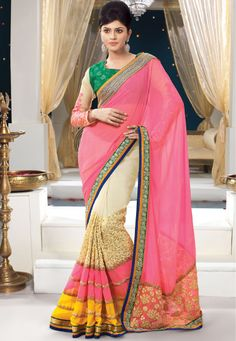 Beautiful Cream And Pink #Georgette Saree designed with Embroidery And Stone And Patch Patta Work.  INR:-7150 With Exciting Discount 25%!