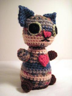 Plush Cat Toy Crochet Amigurumi in Brown, Peach, Blue and Gray at Designingimpressions.etsy.com $38.00 #dteam