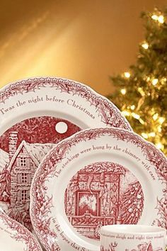 Twas the night before Christmas. A cool set of plates to have on Christmas Eve