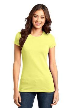 District - Juniors Very Important Tee Style DT6001 #tee #tshirt #top #juniors #crew #lemon #yellow
