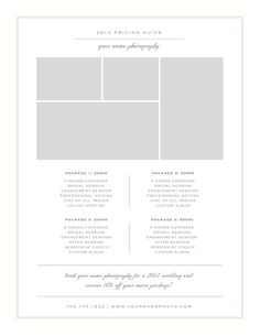 Photography Price List Template by Bittersweetdesignboutique on @creativemarket