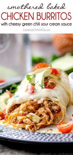 """Smothered Baked Chicken Burritos AKA """"skinny chimichangas"""" are better than any restaurant without all the calories! made super easy by stuffing with the BEST slow cooker Mexican chicken and then baked to golden perfection and smothered in most incredible"""