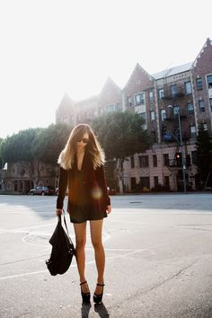 fashiontoast | 11/17/2011 afternoon in los feliz Theory blazer, vintage slipdress, Alexander Wang backpack, Marni heels.