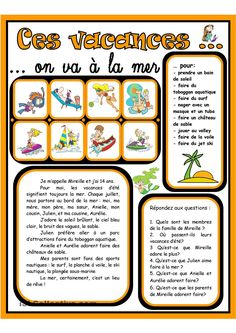 Ces vacances on va la mer Ces vacances on va la mer - Fiches FLE French Teaching Resources, Teaching French, Teaching Tools, French Flashcards, French Worksheets, French For Beginners, French General, French Grammar, Core French