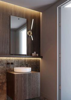 Luxury New York Loft Interior Rough yet refined masculine bathroom material selection - ODA Architec New York Loft, Residential Design, Masculine Bathroom, Modern Interior, Lighted Bathroom Mirror, Bathroom Decor, Loft Interiors, Bathroom Interior Design, Bathroom Design