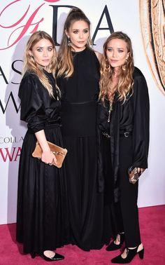 Olsens Anonymous Mary Kate Ashley Olsen Twins Elizabeth Sister 2016 CFDA Awards All Black Look Dress Belt Pants Heels Hair