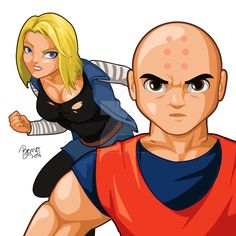 Android18 and Krillin by bonographic