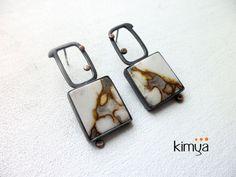 Picture Jasper Oxidised Silver Earrings