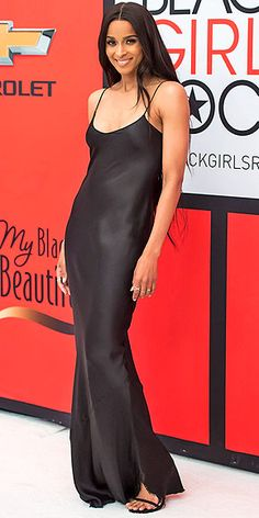 Last Night's Look: Love It or Leave It? | CIARA | in a body-skimming black Nili Lotan slip dress with cocktail rings and very minimal styling at the Black Girls Rock event in Newark, New Jersey.