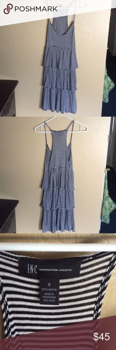 Tiered ruffle dress with stripes Fun dress with classic thin stripe! V-neck neckline. In perfect condition. 38 inches long. TTS Bust 32in, waist 26in. INC International Concepts Dresses