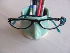 Pencil Cup Eyeglass Holder Ceramic Pottery by SharsArtPottery, $22.95