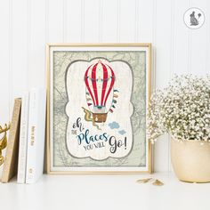 Hot Air Balloon Nursery Decor. INSTANT DOWNLOAD. Vintage Wall Decor. Oh, The Places You Will Go. Inspirational Quote. Graduation Gift HAB1