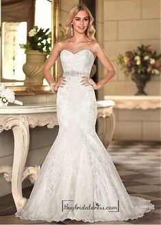 Alluring Lace Sweetheart Neckline Natural Waistline Mermaid Wedding Dress